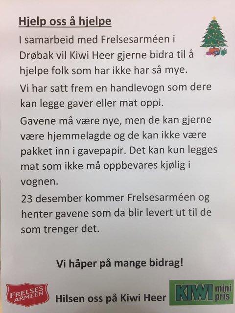 KIWI: På Heer har Kiwi og Frelsesarmeen i Drøbak gått sammen om sette frem en handlevogn man legge varer i.