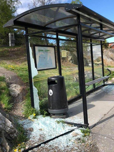 STORE SKADER: Busskuret på Tangenåsen er vandalisert. Verken ordføreren eller politiet vet noe om hendelsen.