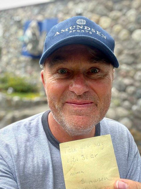 Godt bevart: Dag Erik Pedersen har orden i sysakene og har bevart lappen i snart 20 år: - Jeg er perfeksjonist fra tiden som proffsyklist i Italia. Det gjelder sykler, klær, kjøreplaner, foredrag - alt i grunnen.