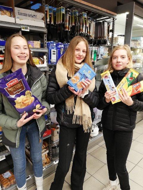 KLIMASTREIKET: Elever fra Tolga skole gjorde en innsats for miljøet fredag. Her er tre av dem: Andrea Wolen, Liv Tiril Brennmoen og Inger Marit Woie Kleveland.