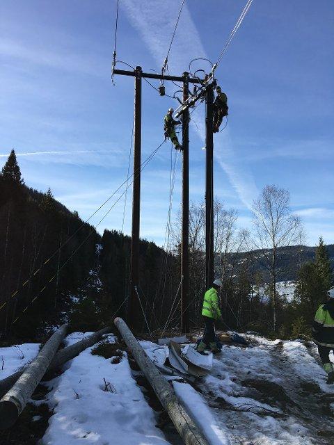 FORNYER: For å styrke strømforsyningen i Setesdal har Agder Energi Nett oppgradert den rundt tre mil lange strømlinjen som går mellom Evje og Bygland.