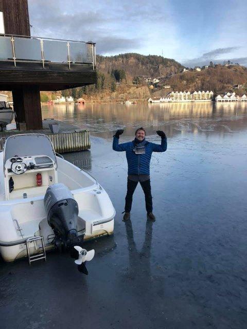 KLARVÆR OG FROSTGRADER: – Det er flotte isdager i Flekkefjord, konstaterer Bjørn Ottersen.