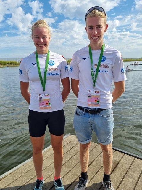 I PORTUGAL: Celine Helleren og Ivar Flikka Buch gjorde sine saker godt i VM i kajakk i Portugal. Mesterskapet ble avsluttet mandag ettermiddag, og tirsdag er flekkefjæringene hjemme i Norge igjen.