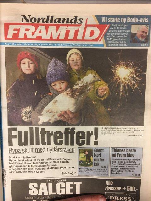Forsiden på Nordlands Framtid 3.januar. Det gjorde saken landskjent gjennom blant andre VG og NRK.