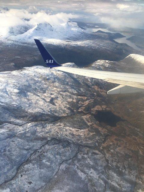 Innflyvning med SAS til Bodø fra øst.