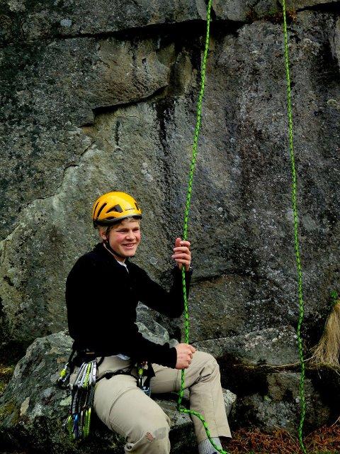 Fornøyd etter en fantastisk dag med klatring