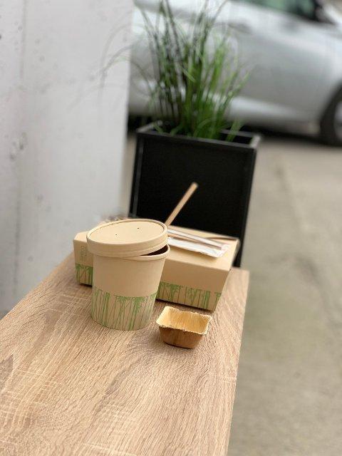 Laget av fornybare ressurser: Den nye emballasjen er laget av bambus og mais.