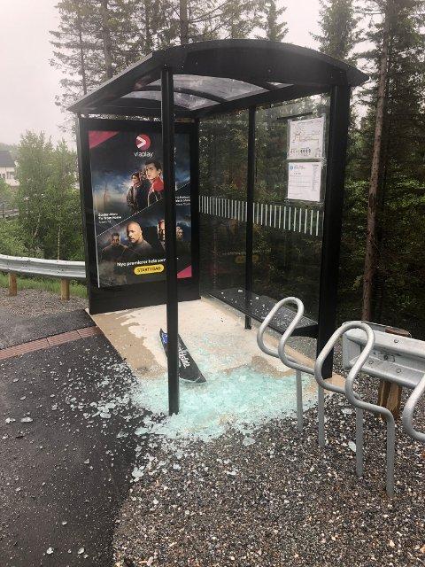 Slik så busskuret ved Hokkåsflata i Bodø ut mandag morgen.