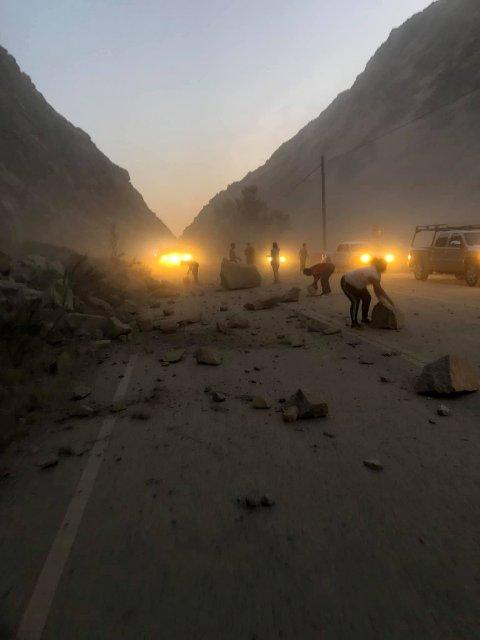 Jordskjelvet i California målte 7,1 på Richters skala. Her i fra Kern Country, California.
