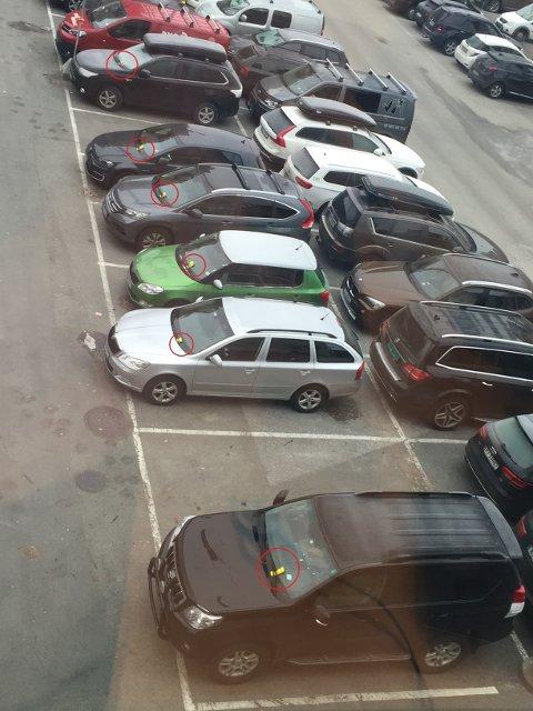 ALLE HAR FÅTT BOT: Samtlige av de parkerte bilene hadde fått bot på de reserverte plassene en av gangene Oddgeir Tryti titta ut av kontorvinduet. Nå vurderer Park Nordic tiltak.