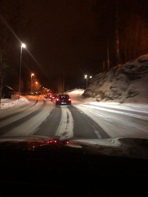 Det var tett trafikk på de alternative veiene.