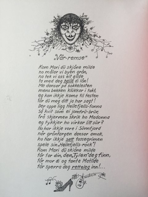VÅR-REMSE: Kom Mari du skjøne milde, syng Oddvar Torsheim. Attgjeve med løyve frå kunstnaren.