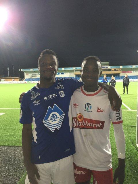 BRØDREDUELLEN: Det ble uavgjort i brødereduellen mellom Ygh Wembangomo (til venstre) og Brice. Foto: Christian Brevik