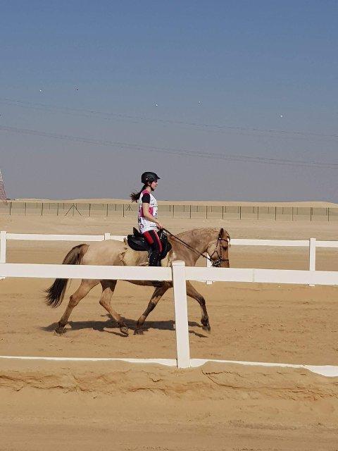 160 km: Lørdag skal Nathalie Aas Hovland ri 160 km gjennom ørkenen i Abu Dhabi. Her fra en treningsrunde tidligere denne uken. (Foto: Privat)