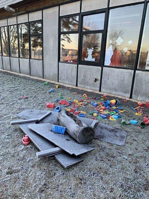 Hærverk på lekeplassen til Råkollen skole på Nabbetorp