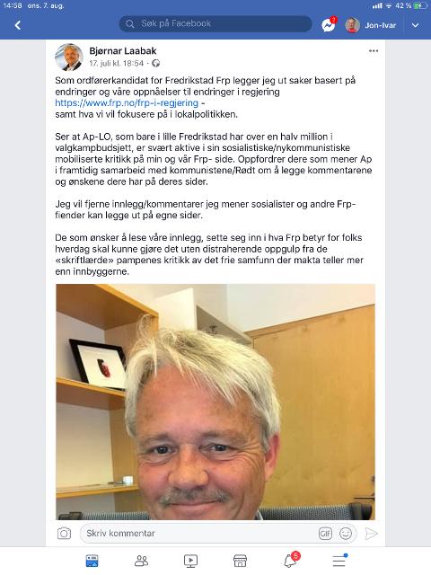 RYDDER OPP: Frps Bjørnar Laabak tar en opprydning på Facebook