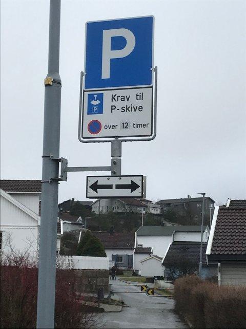 Krav til p-skive ved Gressvik Torg.