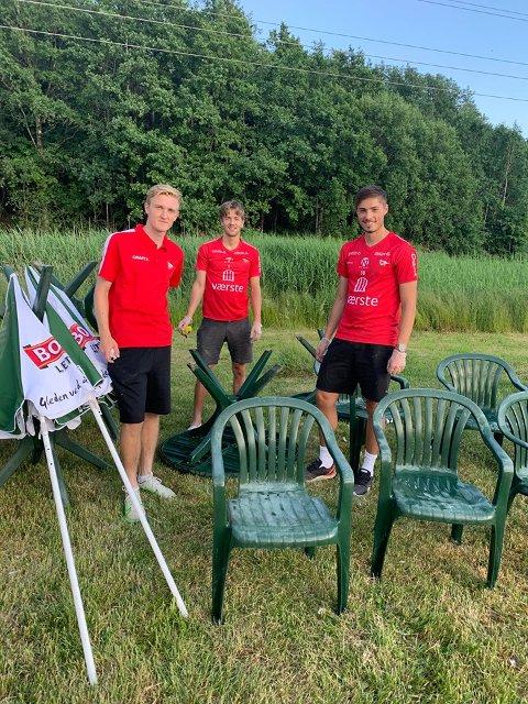 Oskar Kjøge Jansson (til venstre) Philip Aukland og Niah Bech Hermansen deltok på Selbaks dugand torsdag.
