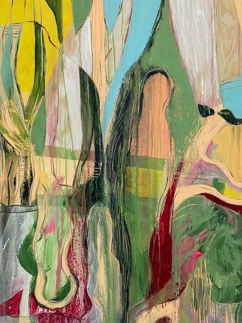 «Livets Landskap» relieffmaleri av Mia Gjerdrum Helgesen som stiller ut på Hvaler i sommer.