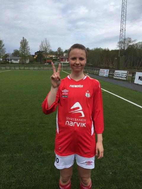 Malene Fikseth Jakobsen scoret begge målene da Mjølner slo Brønnøysund på bortebane i serieåpningen lørdag.