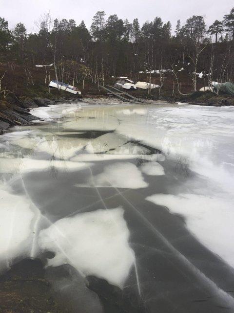Usikker is: Isen på vann i lavlandet er usikker, og de fleste  elver og bekker er åpne. NVE og Statskog ber folk være ekstra forsiktig, og sjekke istykkelsen på vann. Dette bildet er fra Melkevatn i Ballangen. Foto: Arild Bondestad