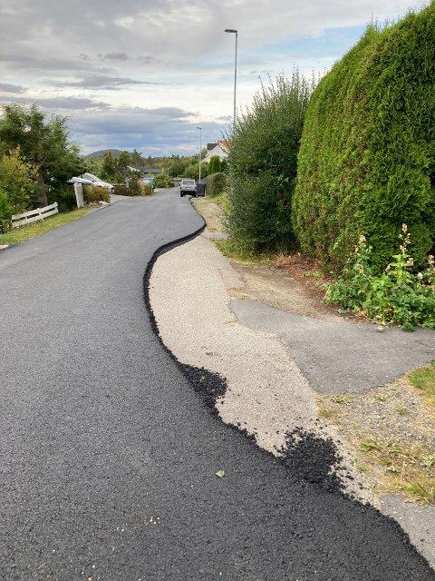 Et gap i veien møtte Daniela Hovland da hun så det foreløpige resultatet av asfalteringen i Rugdeveien.