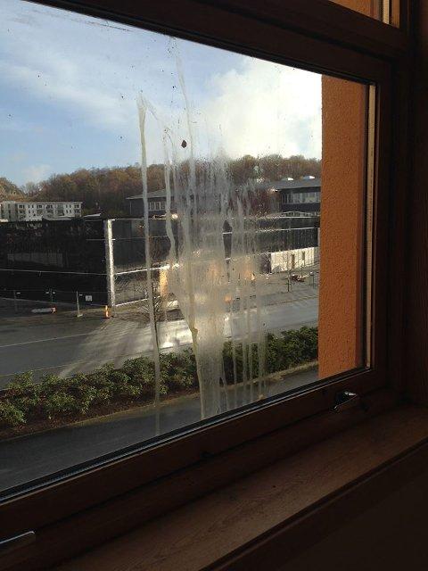 Flere av vinduene på Åboas er dekket av eggerester.
