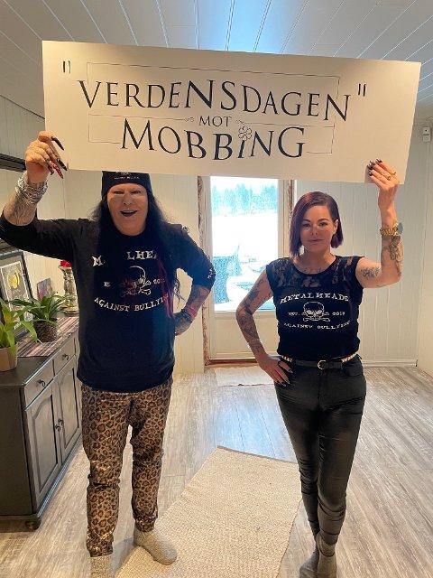 FN-HJELP: Leif Munkelien og Isabell Nordal i Metalheads against bullying vil ha FN til å opprette en egen antimobbedag. FOTO: PRIVAT
