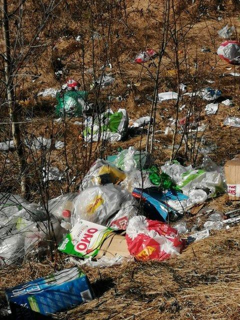 SØPPEL: Slik ser det ut i området ved pumpestasjonen og verken sør for Kirkenær etter at noen har kastet søppel der.