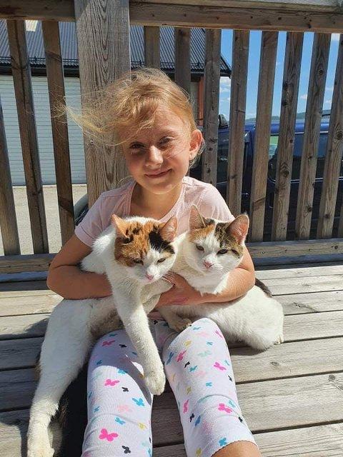 Åtte år gamle Natalie Austad er kjemglad for at begge kattene - søstrene Molly og Nelly - er trygt på bakken etter at Molly har sittet to og et halvt døgn 20 meter oppe i ei furu hjemme på Oppstad. Lift måtte til.
