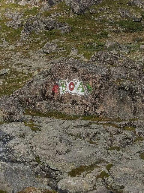 Disse bokstavene er tagget på fjellet sør for Gjende.