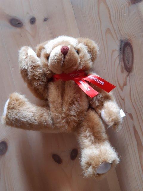 TAKK: Bamsen Oddvar er gaven vår datter fikk i ambulansen, skriver takknemlige hytteturister på Nordseter.