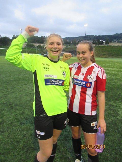 FORNØYDE: Keeper Emilie Aaen og målscorer Margrethe Grønberg var godt fornøyde med ny seier.