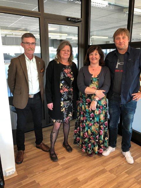 SNUDDE: Denne kvartetten bidro til at fylkeskommunen snudde og likevel bidro med 100.000 til Fredrikshalds Borgervæpning. Fra venstre: Geir Helge Sandsmark, Wenche Olsen, Ann Kristin Øye og Lars Pedersen Due.