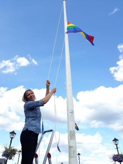 Stolte over å støtte mangfold med en regnbue av flagg på bybroen i Halden i anledning av Østfold Pride og Fredrikshaldfest. . Bodil Andersson, Østfoldmuseene Halden historiske Samlinger