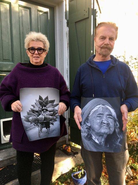 Eva Mellquist og Truls Lie med to eksempler på på fotografiene som stilles ut på Erlandsen fra førstkommende lørdag.