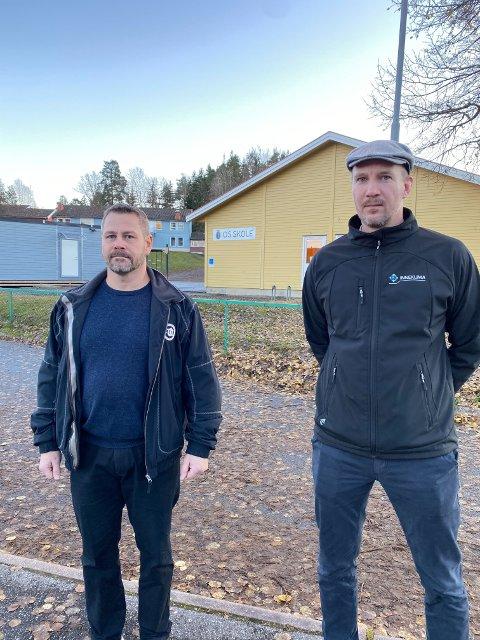 SKOLESKYSS: Thomas Hansen (t.v) og tidligere FAU-leder Pål Eikrem Målerud reagerer på kommunedirektørens forslag om å kutte gratis skoleskyss til Os-elevene. Ordningen ble innført i fjor, men kommunedirektøren mener kostnaden er for stor for kommunen.
