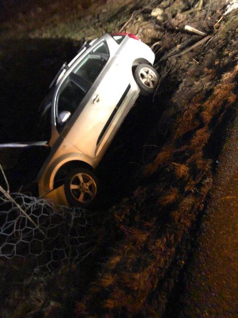 """""""En bil har kjørt i grøften"""", opplyste Vest politidistrikt."""