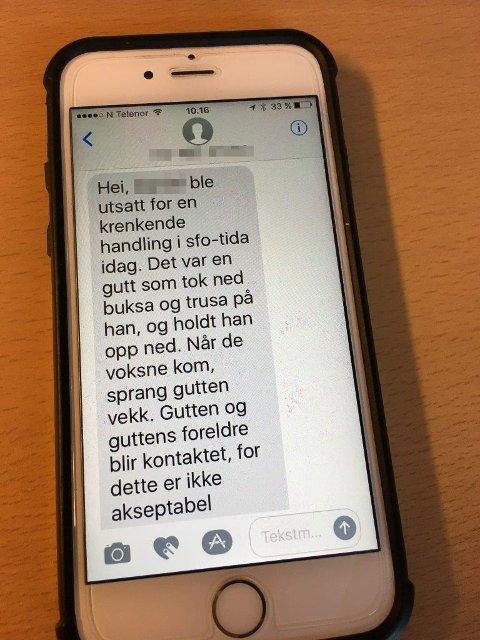SMS-en: Her er tekstmeldingen som ble sendt til guttens mor.