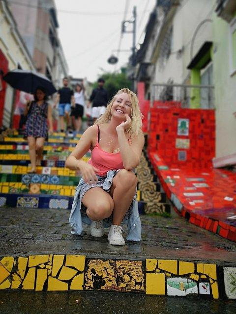 RIO: På den kjente Selaron-trappen i Rio de Janeiro.