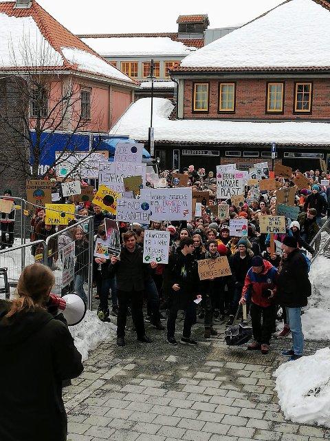 Klimastreikende ungdommer i Kongsberg