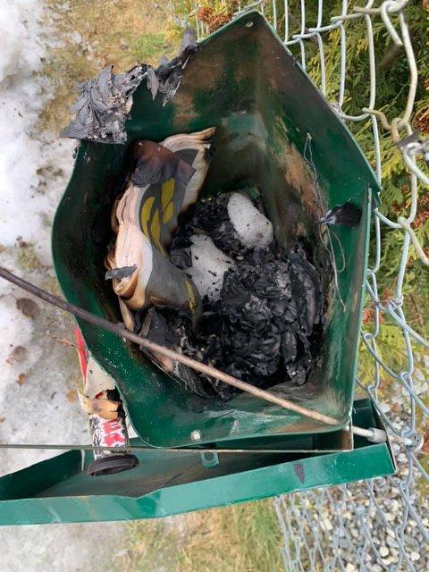 FYRVERKERI: Slik ser postkassa ut, etter at noen har fyrt opp fyrverkeri. Pakker, brev og julekort har blitt ødelagt.
