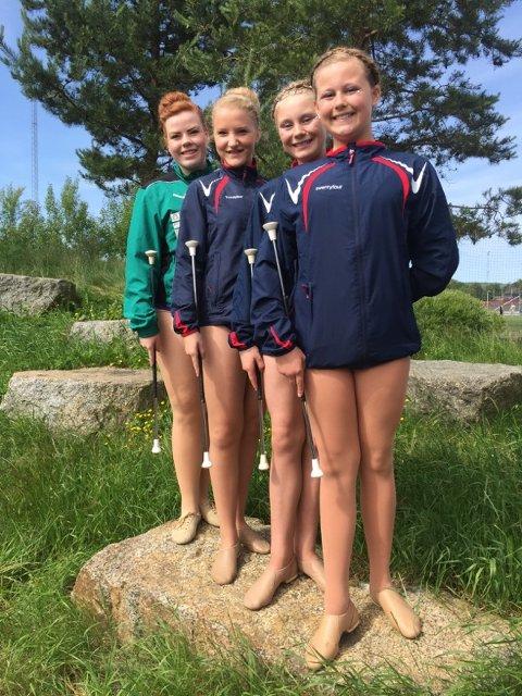 NM-smil: Martine Nordby (Svolværjente som representerer Andenes), Mimi Alise Ravnåsen, Vilde Ekrem og Mathea Pedersen var Lofotens representanter under NM i korpsdrill i helga.