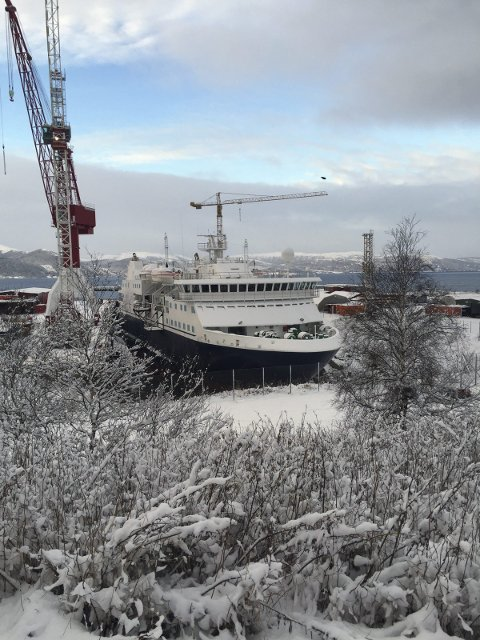 Vinter: Hurtigrutens nyanskaffelse møtte vinteren da den kom til Fosen høsten 2015.