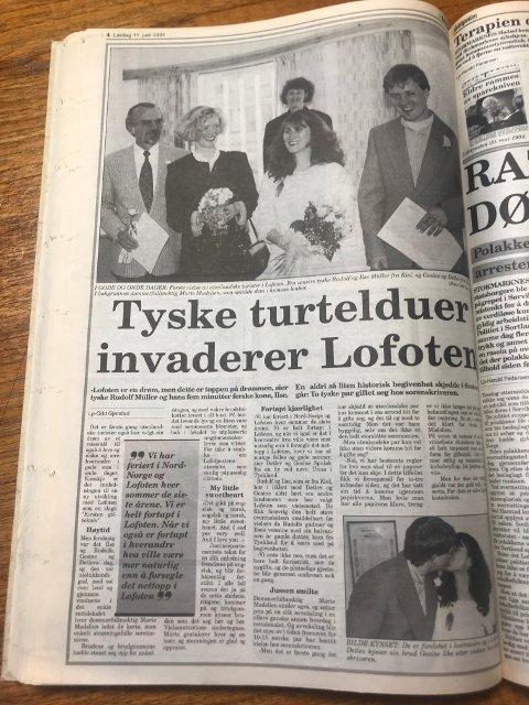 Lofotposten: Ilse og Rudolf giftet seg 10. juni 1994. Her er avisartikkelen som ble skrevet den gang.