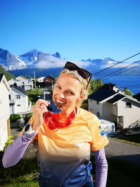 FJELL-LØPER: Mirjam Saarheim skal løpe i Vest-Europas høyeste fjell neste sommer. Bildet er fra da hun deltok i Sans Senja Skyrace i 2019.