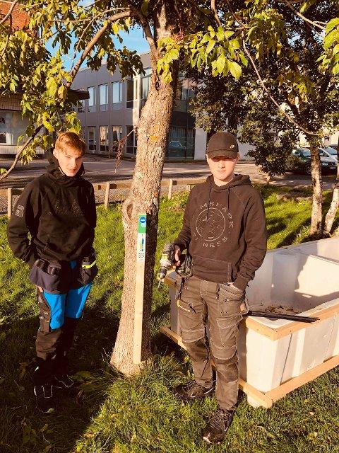 Stolpejakten: Rasmus Rasmussen og Trond Amund Selnes monterer de første stolpene.