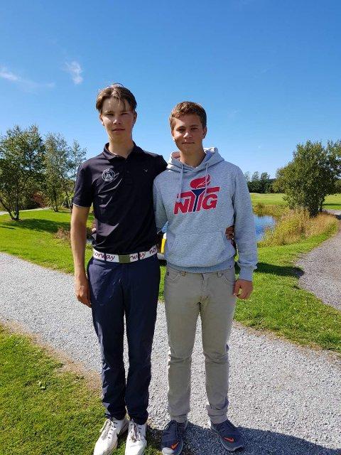 IMPONERTE: Junioren Magnus Utela Pedersen (t.v) imponerte og ble nummer fem i herrenes golf-NM, mens Jacob Guttormsen Fløgstad til slutt havnet på 40. plass. Herlig innsats av de to 18-åringene til Moss og Rygge Golfklubb.