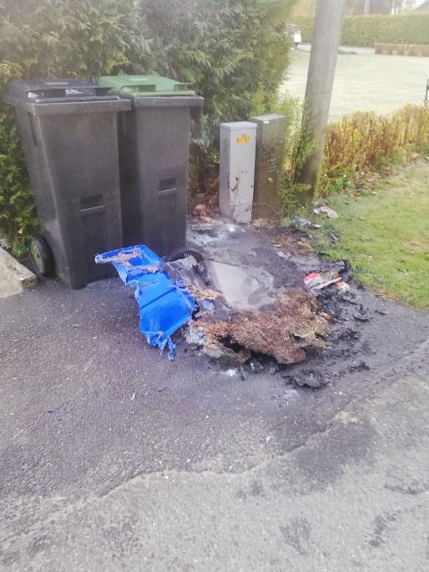 SØPPELKASSER: Det var bare flaks og årvåkne naboer som forhindret en større brann natt til lørdag i nabolaget på Halmstad.