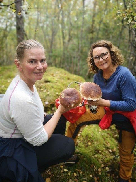 STEINSOPP: Lise Hunnestad og Wenche Dahle fra Flatanger har falt for steinsoppen. Tidligere plukket søstrene kun kantarell, men i høst har de utvidet sopp-horisonten.